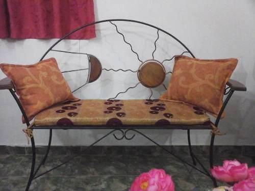 Juego de muebles de hierro forjado madera y cojines