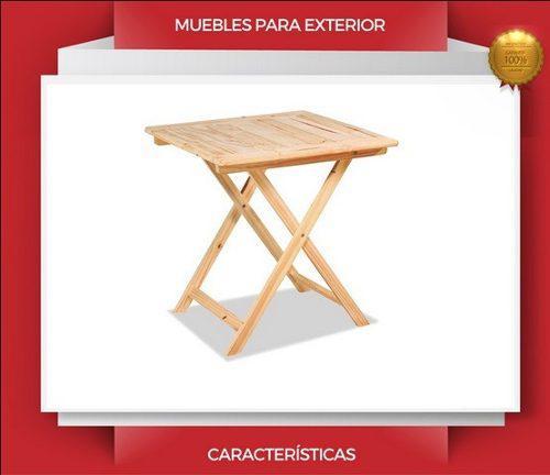 Mesa de madera pino jardin plegable