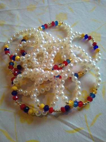 eb722b9ff72a Pulseras tricolor de perlas de venezuela