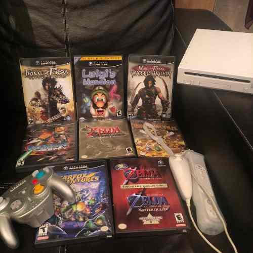 Combo consola wii y juegos originales control de wii y cube
