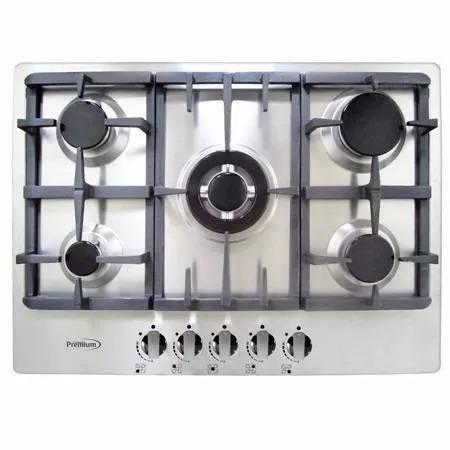 Tope cocina gas acero inoxidable 70 cm premium 5 h pbs812sh