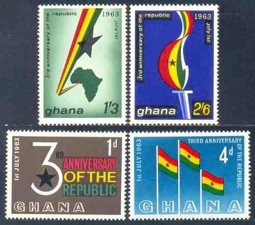 Estampillas de ghana serie de 4 valores de 1963 bandera