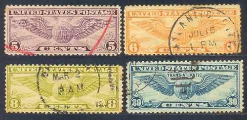 Estampillas estados unidos 4 valores 1930,1932,1939 usadas