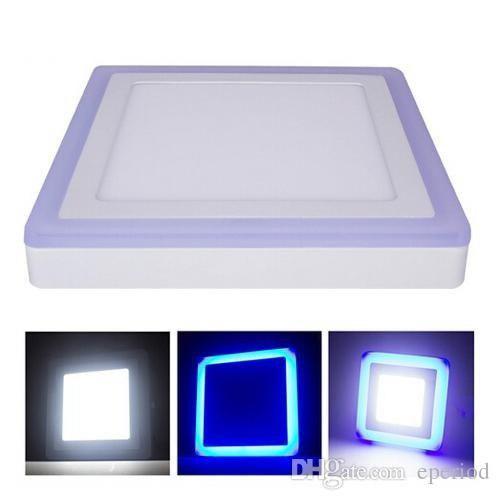 Lampara led panel 12+4w doble color cuadrada sobreponer