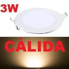 Lampara led panel 3w luz cálida redonda empotrar calidad