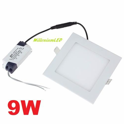 Lampara led panel 9w cuadrada empotrar luz blanca