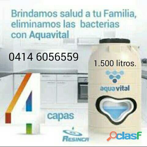 1.500 lts. tanques para agua 4 capas antibacteriales aqua vital marca resinca 04146056559