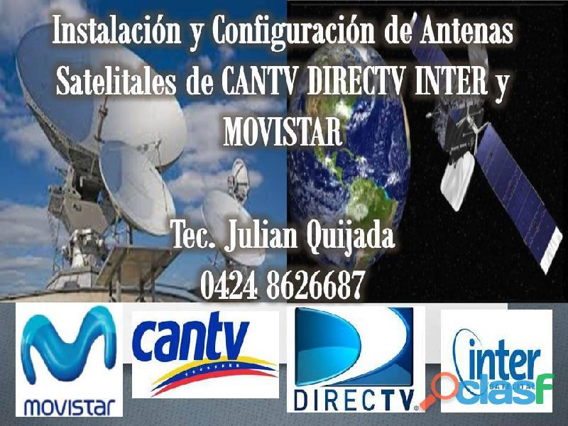 Instalacion de antenas satelitales de cantv directv inter y movistar