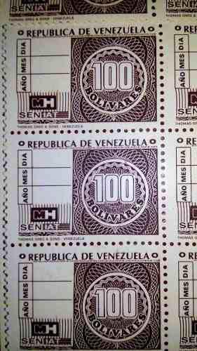 Estampilla timbre fiscal 100 bs de coleccion