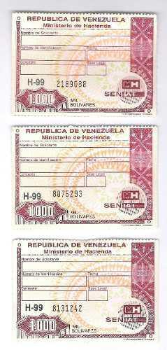 Timbres Fiscales De 1.000 Bolívares Serie Sin Letra