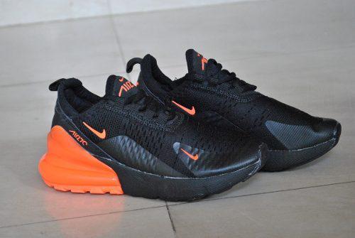Kp3 zapatos nike air max 270 negro / naranja niños niñas