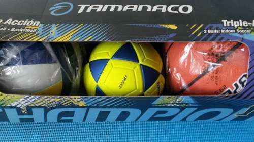 Tamanaco combo tripleaccion futbolito 3 -voleybol-basketbol