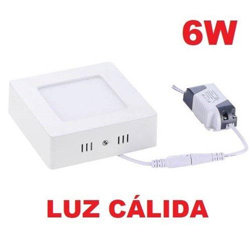 Lampara led panel sobreponer o superficial 6w luz cálida