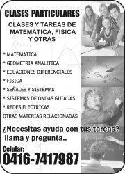 Clases particulares y tareas de matemática, física y