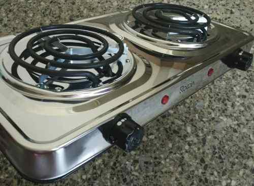 Cocina eléctrica 2 hornillas cromada