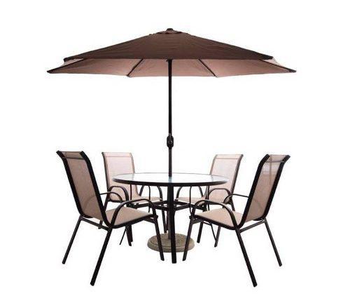 Juego jardin (mesa,4 sillas,sombrilla y base) color marrón