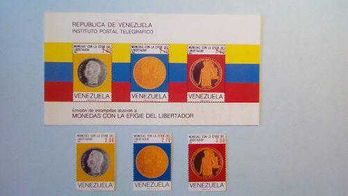 Estampillas efinge del libertador en monedas