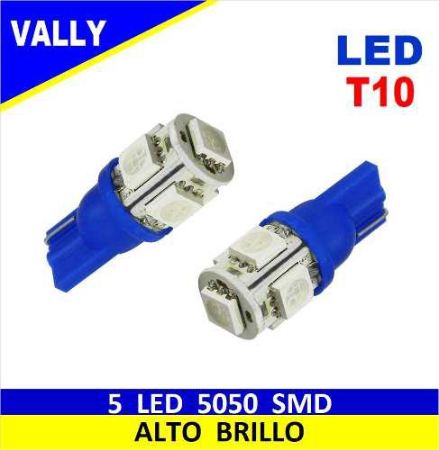 Bombillo muelita led t10 158 luz azul 5 smd autos, motos par