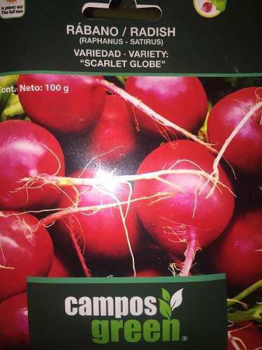 Semilla certificada de rábano variedad scarlet globe 100 gr
