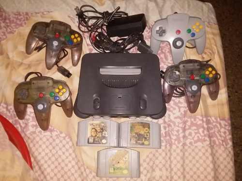 Nintendo 64 +4 controles y 3 juegos mario64 mario kart y luc