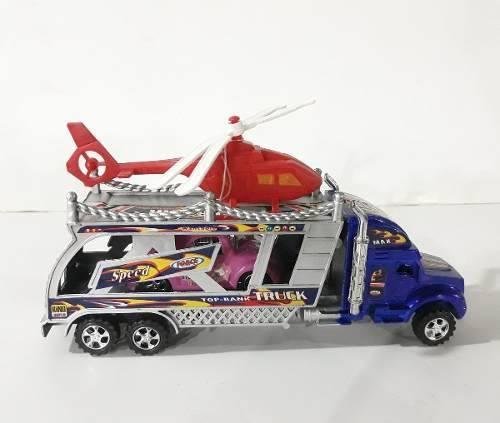 Camion juguete niños plastico gandola helicoptero