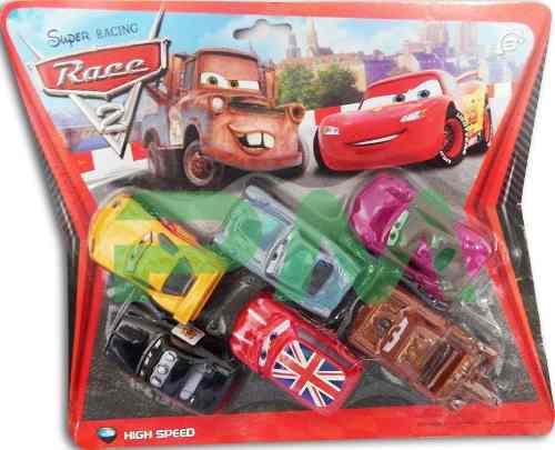 Juego de 6 carros cars set carritos juguete rayo mcqueen
