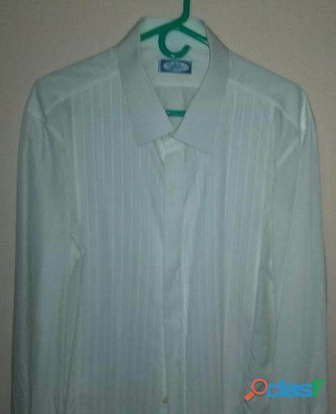 Camisas para smoking una blanca y otra azul con rayas blancas talla l