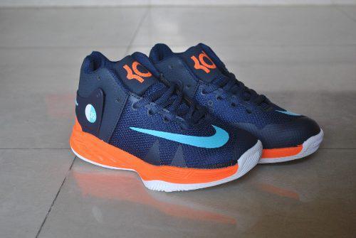 Kp3 botas niños nike kevin durant trey azul naranja solo 33