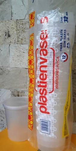 Envase Tina Plástico Con Tapa 32 Onzas 12 Unidades