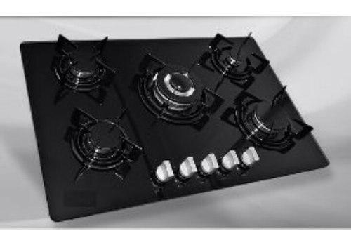 Tope cocina de vitrocerámica de 77cm 5 hornillas a gas