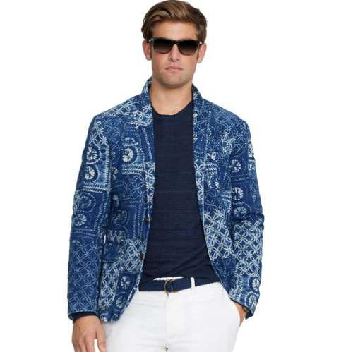Blazer ralph lauren hombre indigo japonés patchwork
