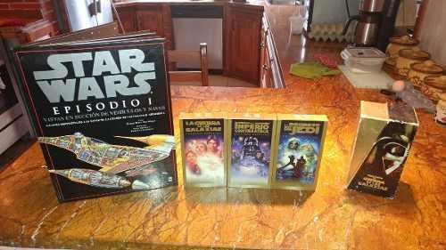 Combo star wars peliculas originales vhs y libro naves epi 1