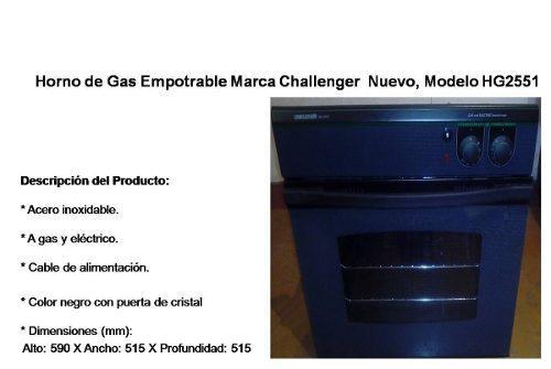 Horno de gas empotrable challenger nuevo, modelo hg2551