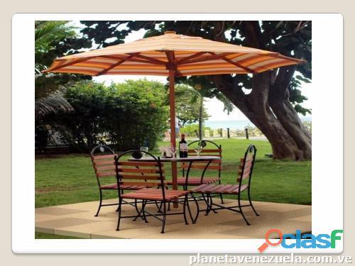Mesas con sombrilla para jardín, terrazas