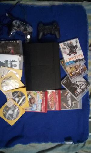 Playstation 3 slim 250 gb 2 controles 12 juegos originales