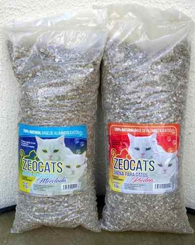 Arena para gatos zeocats mezclada y piedra