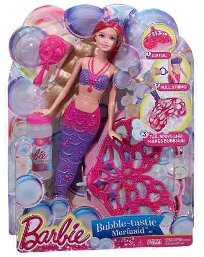 Muñeca barbie sirena burbujas juguete mattel
