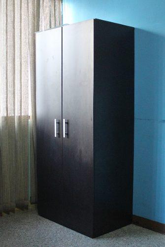 Mueble closet dos puertas madera color negro ropa accesorios