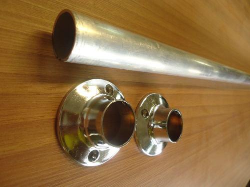 Tubos closets, en aluminio, 4 mts de largo, sin soportes.