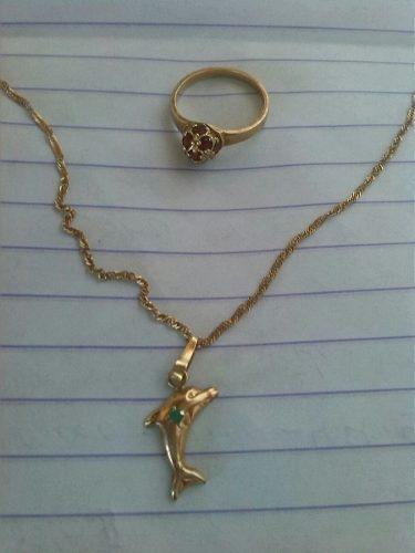 Cadena de oro con dije + anillo 18 k italiano (oferta)