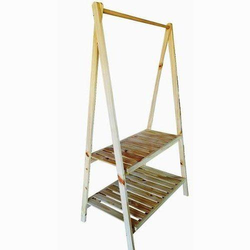 Perchero pino madera ropa rack exhibidor desarmable 50verdes