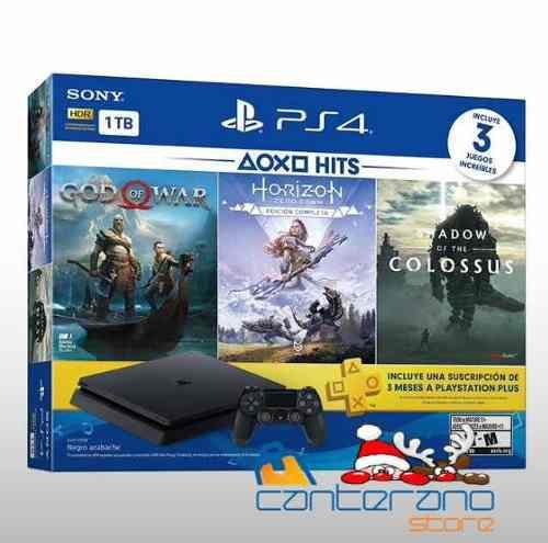 Playstation 4 ps4 slim de 1tb + 3 juegos nuevo de paquete