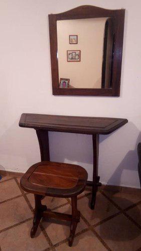 Consola recibidor espejo madera rustica colonial antiguo
