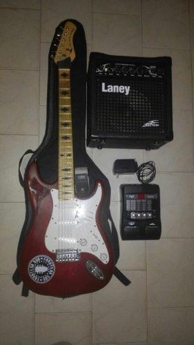 Guitarra black hawk amplificador laney pedal digitech rp155