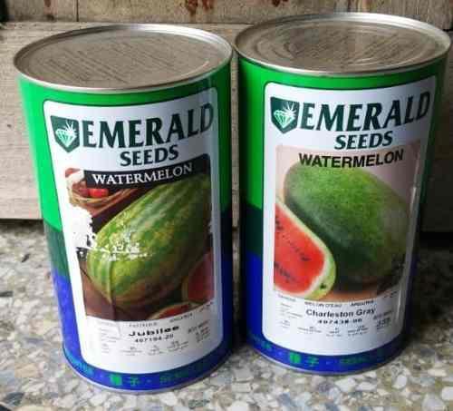 Semillas de patilla charleston grey, emerald, latas de 500 g