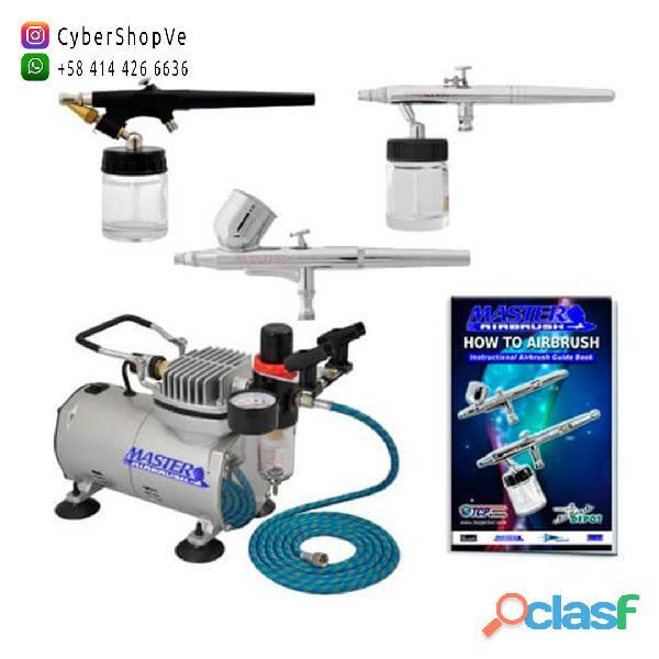 Master kit aerografía profesional 3 aerografos + 54 colores