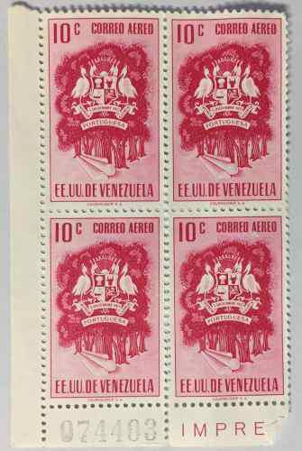 Estampillas bloque de 4 escudo portuguesa error palito corto