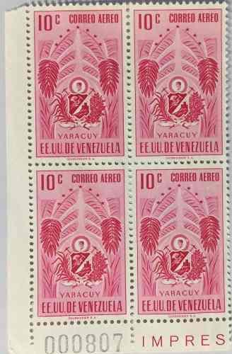 Estampillas bloque número 000807 escudo yaracuy palito