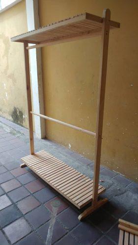 Perchero pino madera ropa rack exhibidor desarmable 150mil