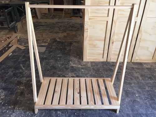 Perchero pino madera ropa rack exhibidor desarmable 70.000